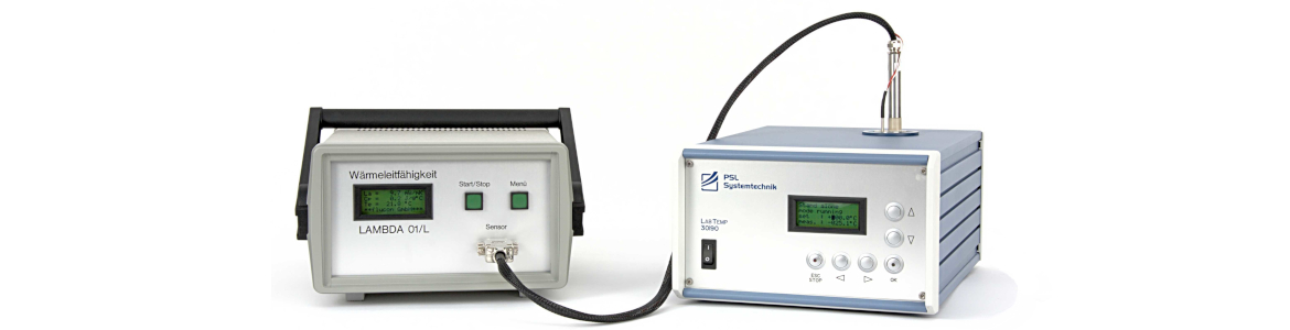 Laboratory device: Measuring thermal conductivity of liquids and also of powders, gels and nanoparticles, automated laboratory instrument including temperature control, ASTM D2717, ASTM D7896-14. PSL Systemtechnik. Made in Germany.